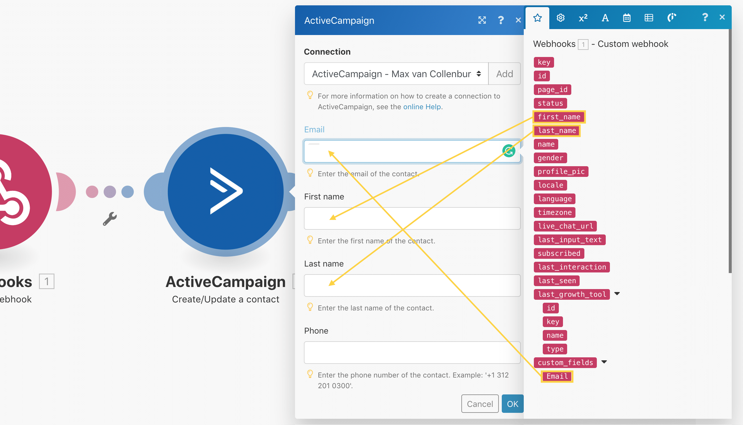 Add data to ActiveCampaign step