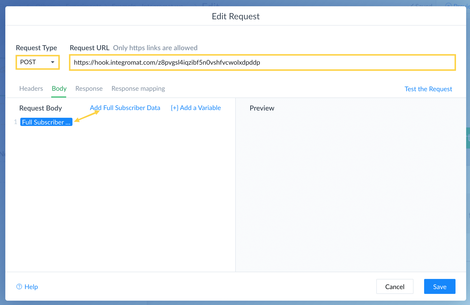 Add webhook to external request in ManyChat