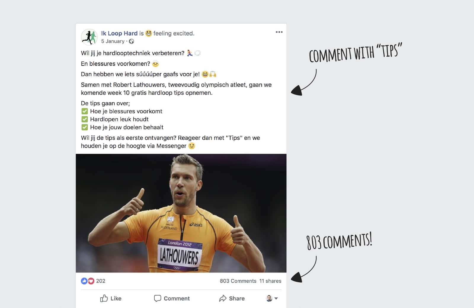 803 comments on Facebook Post triggering Messenger