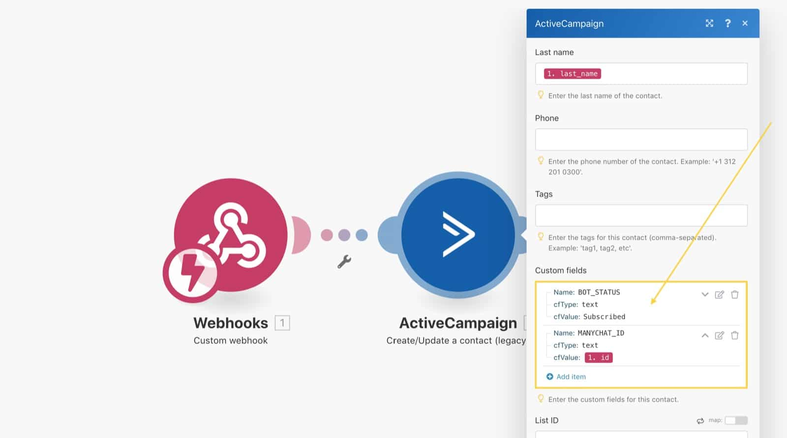Add data to the ActiveCampaign custom fields