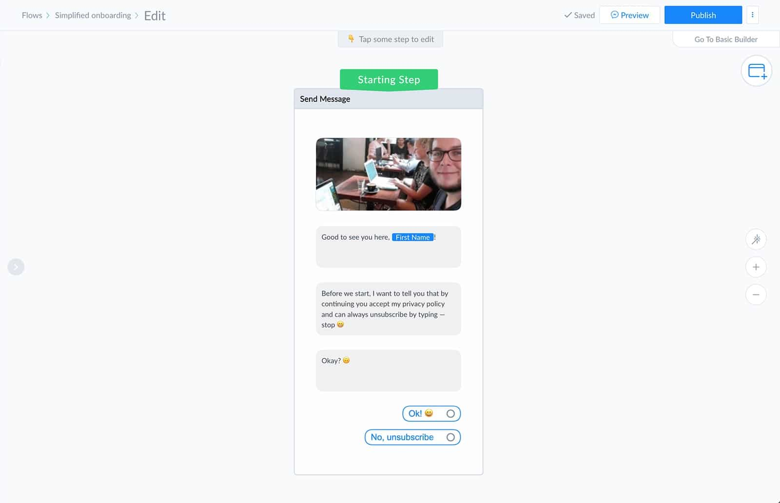 Add quick replies to the send message block