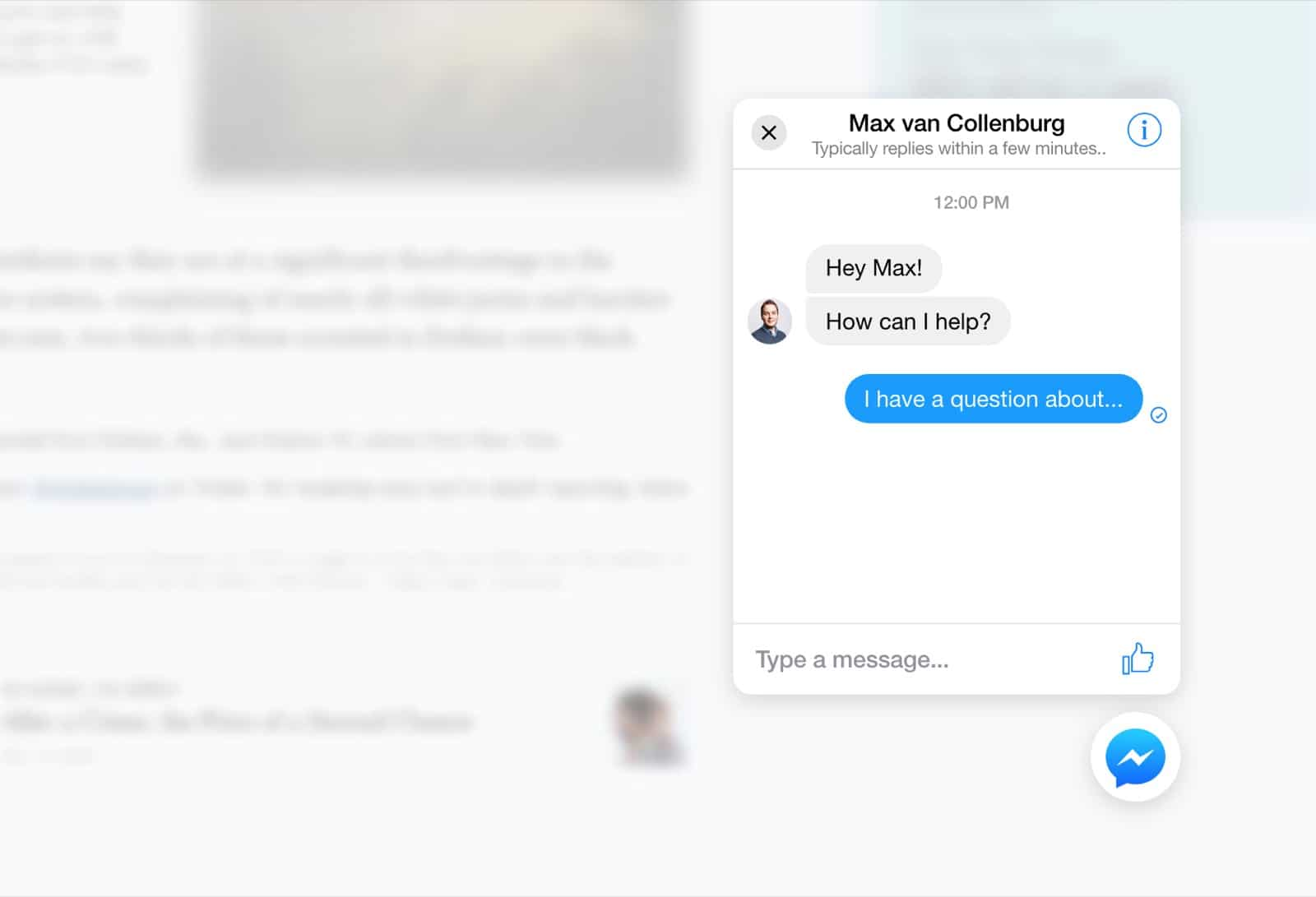 Example Messenger chat on a website