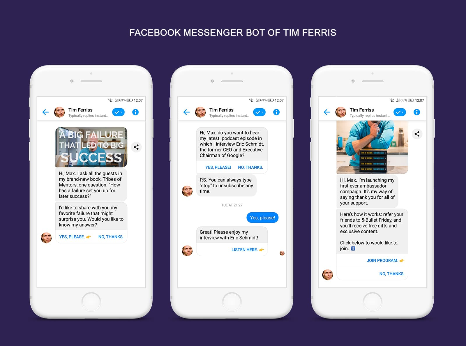 Facebook Messenger Bot of Tim Ferris