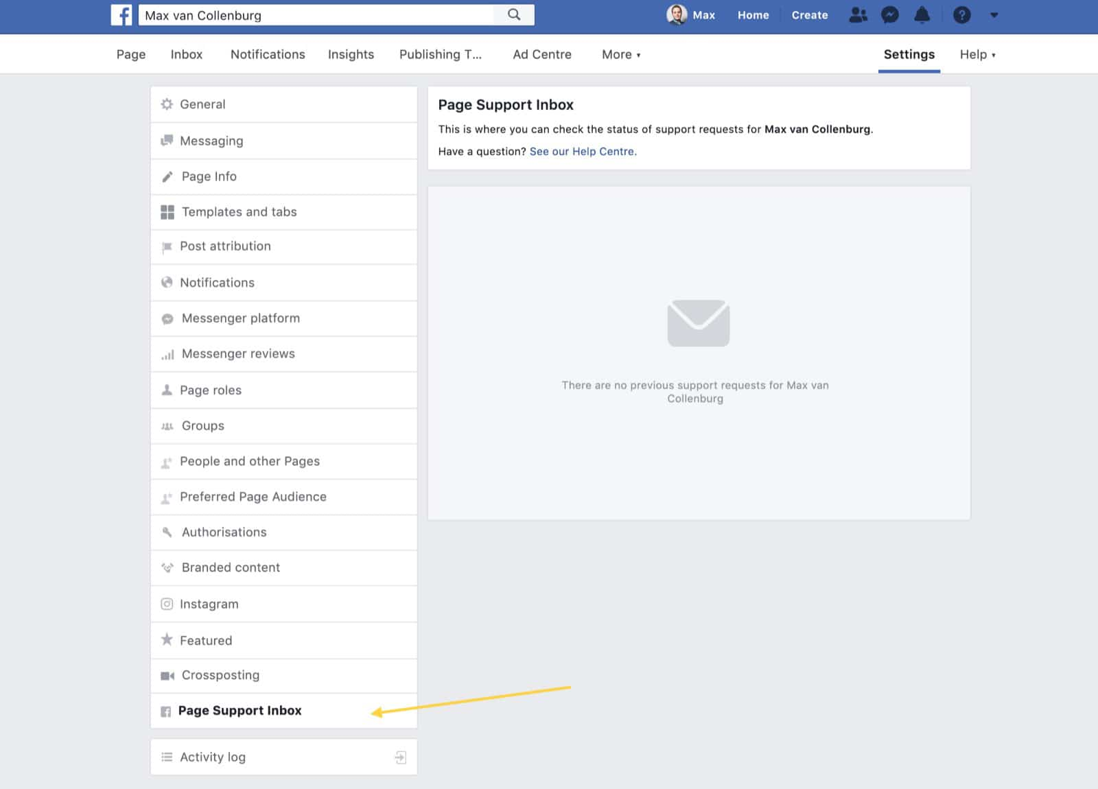 Facebook Page Support Inbox