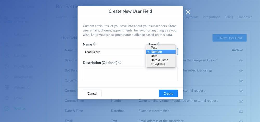 Create lead score custom field in ManyChat