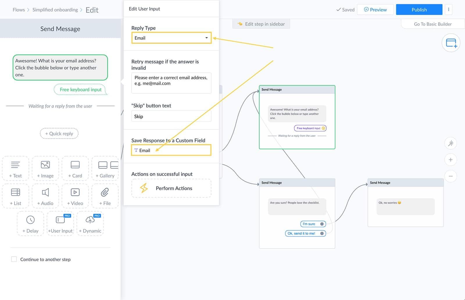 User field settings