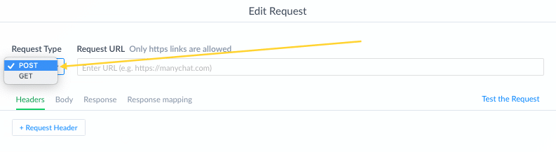 ManyChat External Request: request type