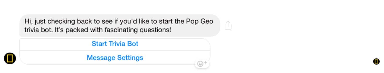 Example of automated follow-up in Messenger