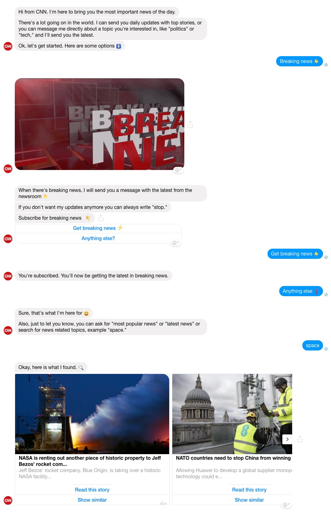 Facebook Messenger Bot example: CNN