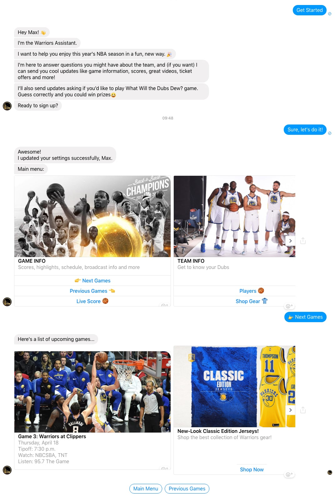 Facebook Messenger Bot: Golden State Warriors