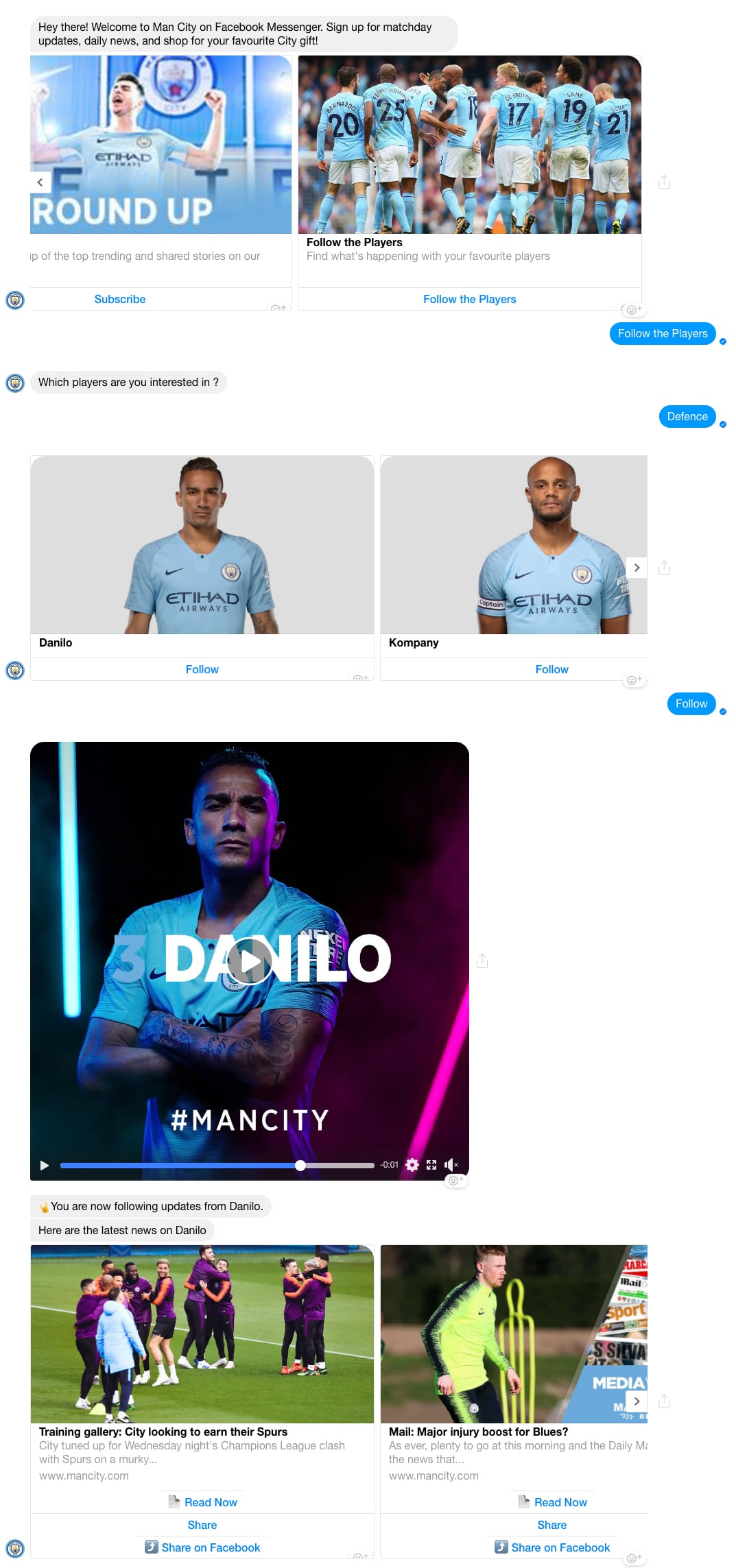 Facebook Messenger Bot: Manchester City