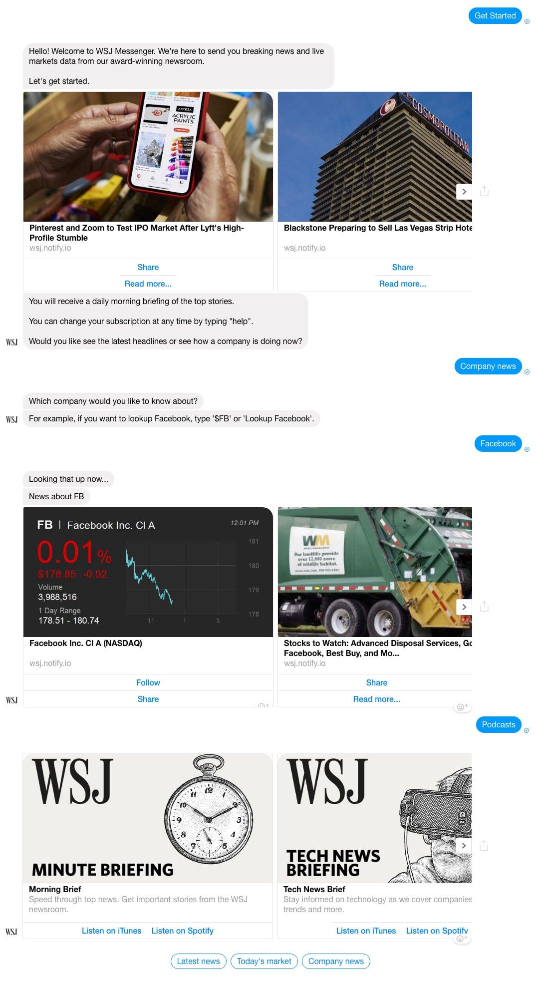 Facebook Messenger Bot Example: The Wall Street Journal