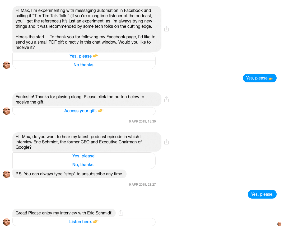 Facebook Messenger Bot Example: Tim Ferris