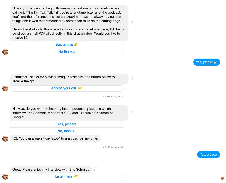 Facebook Messenger Bot Example: Tim Ferris
