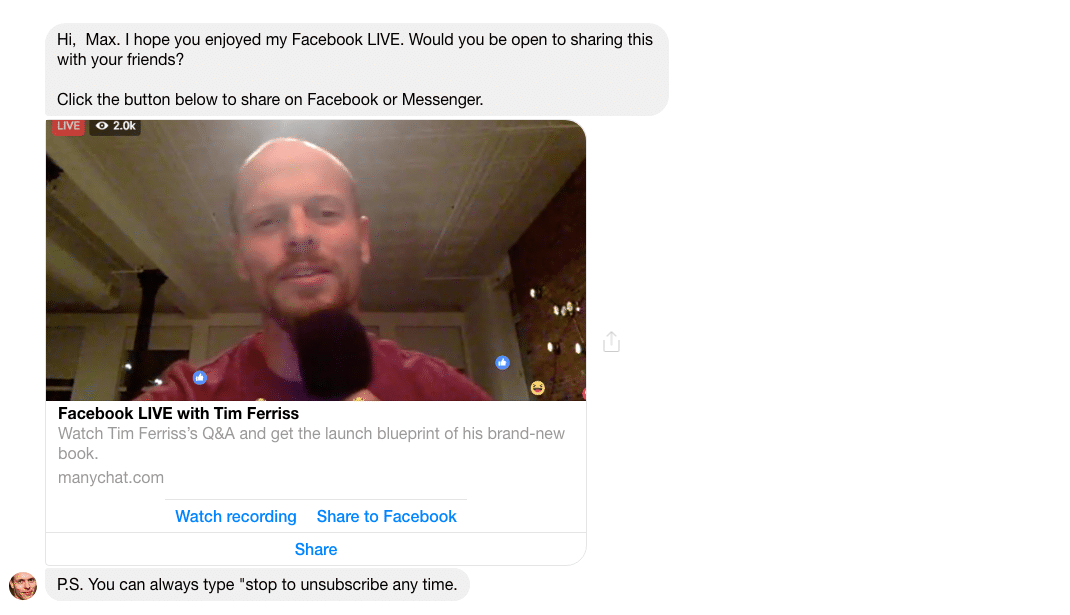 Using Facebook Messenger Bot to share Facebook Live