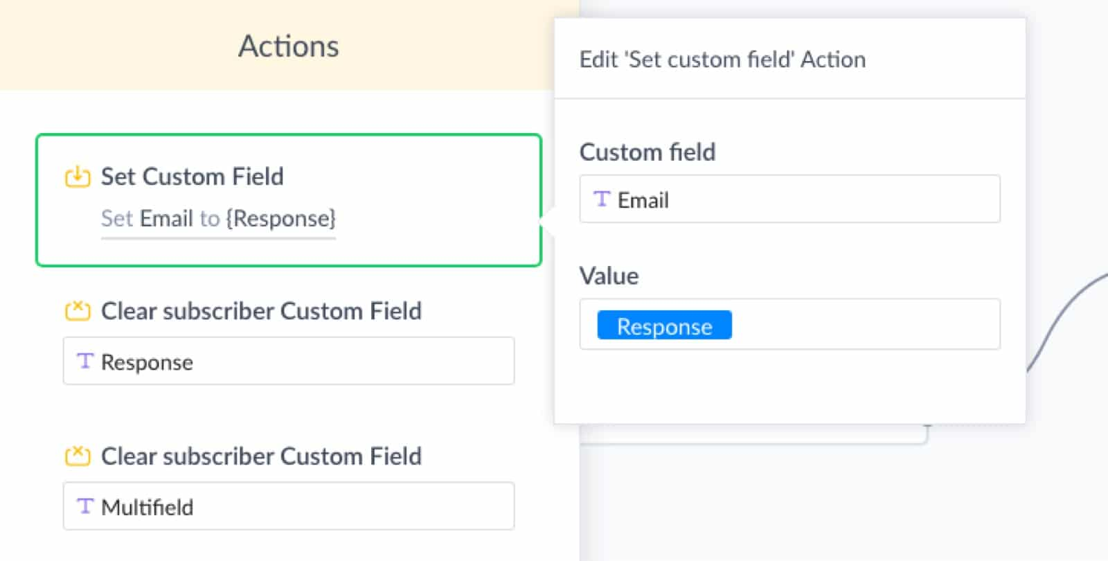 Save response to email custom field in ManyChat