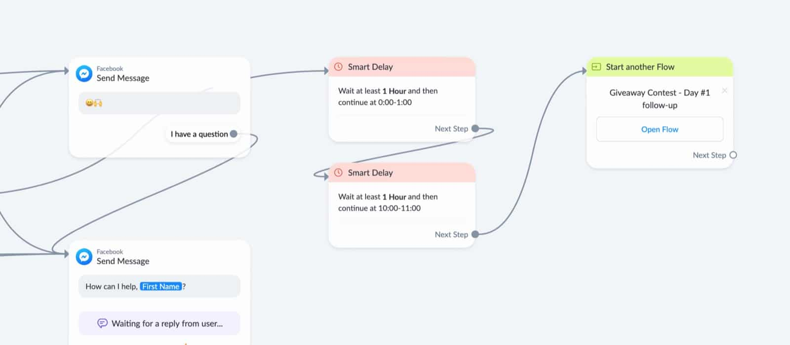 Add continue to other flow to registration flow in ManyChat