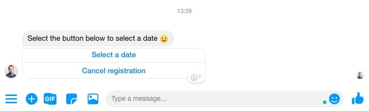 Button to select a date in Messenger