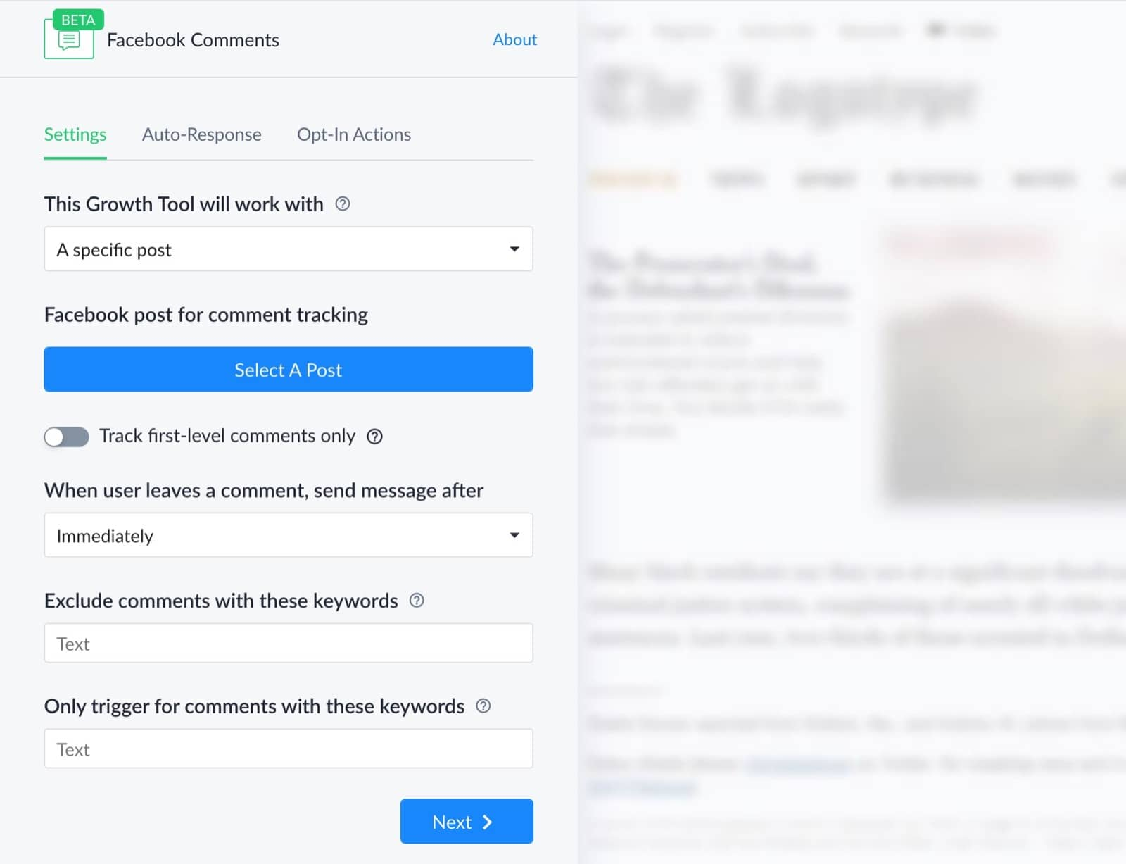 Comment Growth Tool: Default Settings