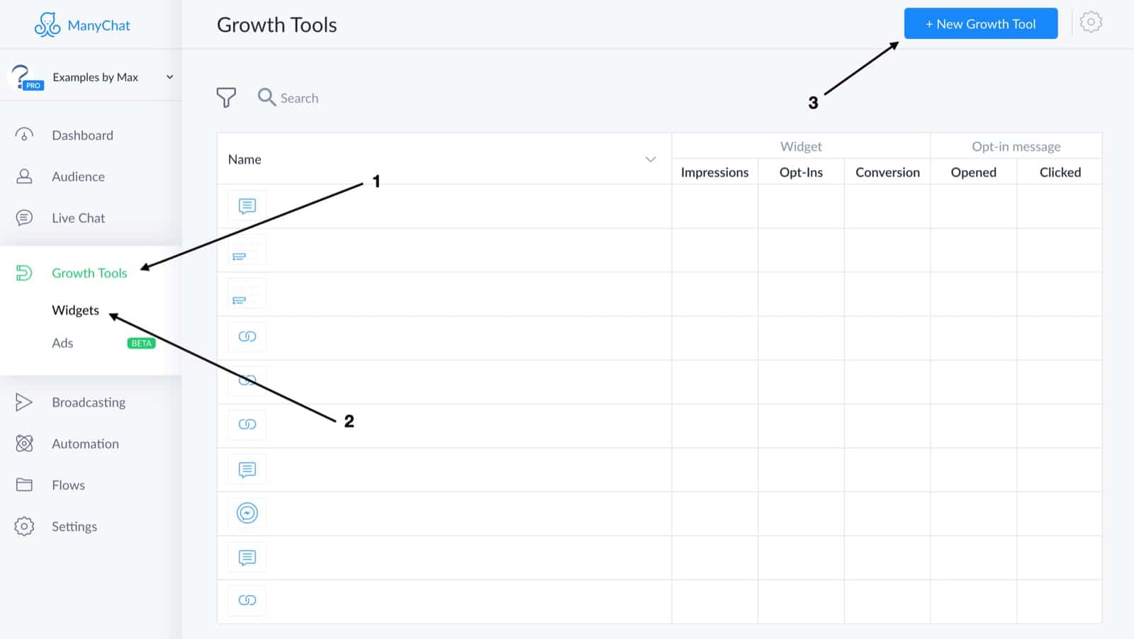 Create new ManyChat Comment Growth Tool
