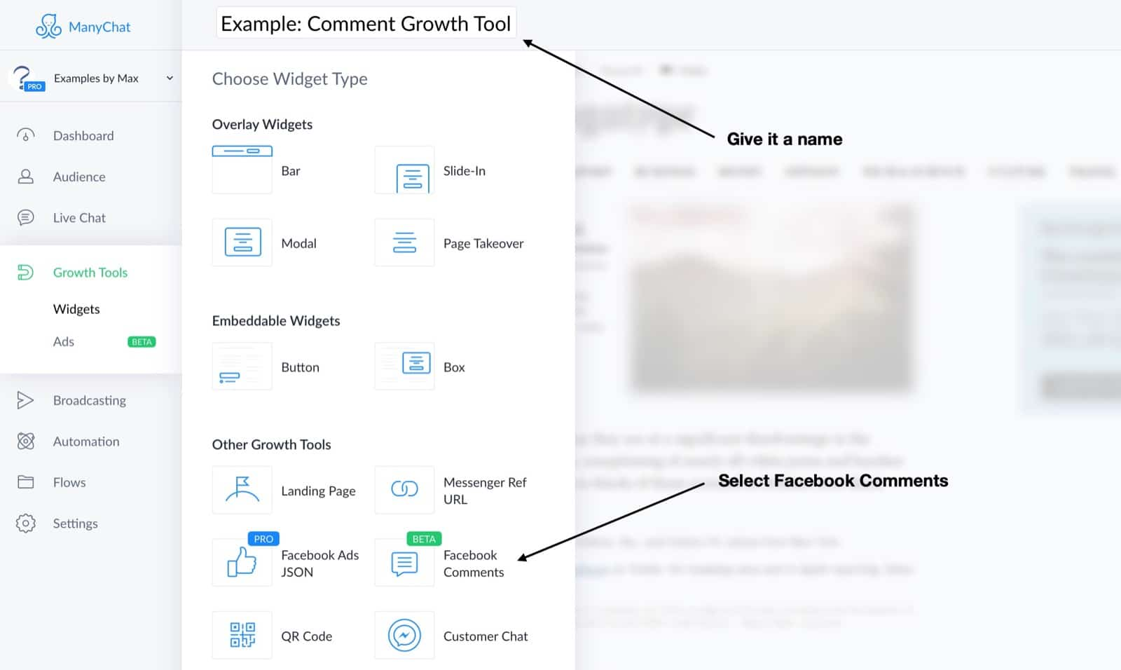 Create the manychat comment growth tool
