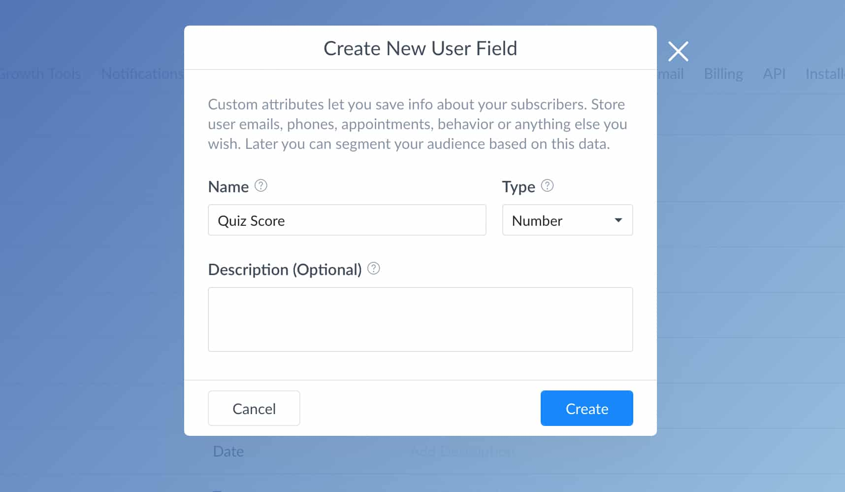 Create a quiz score user field inside ManyChat