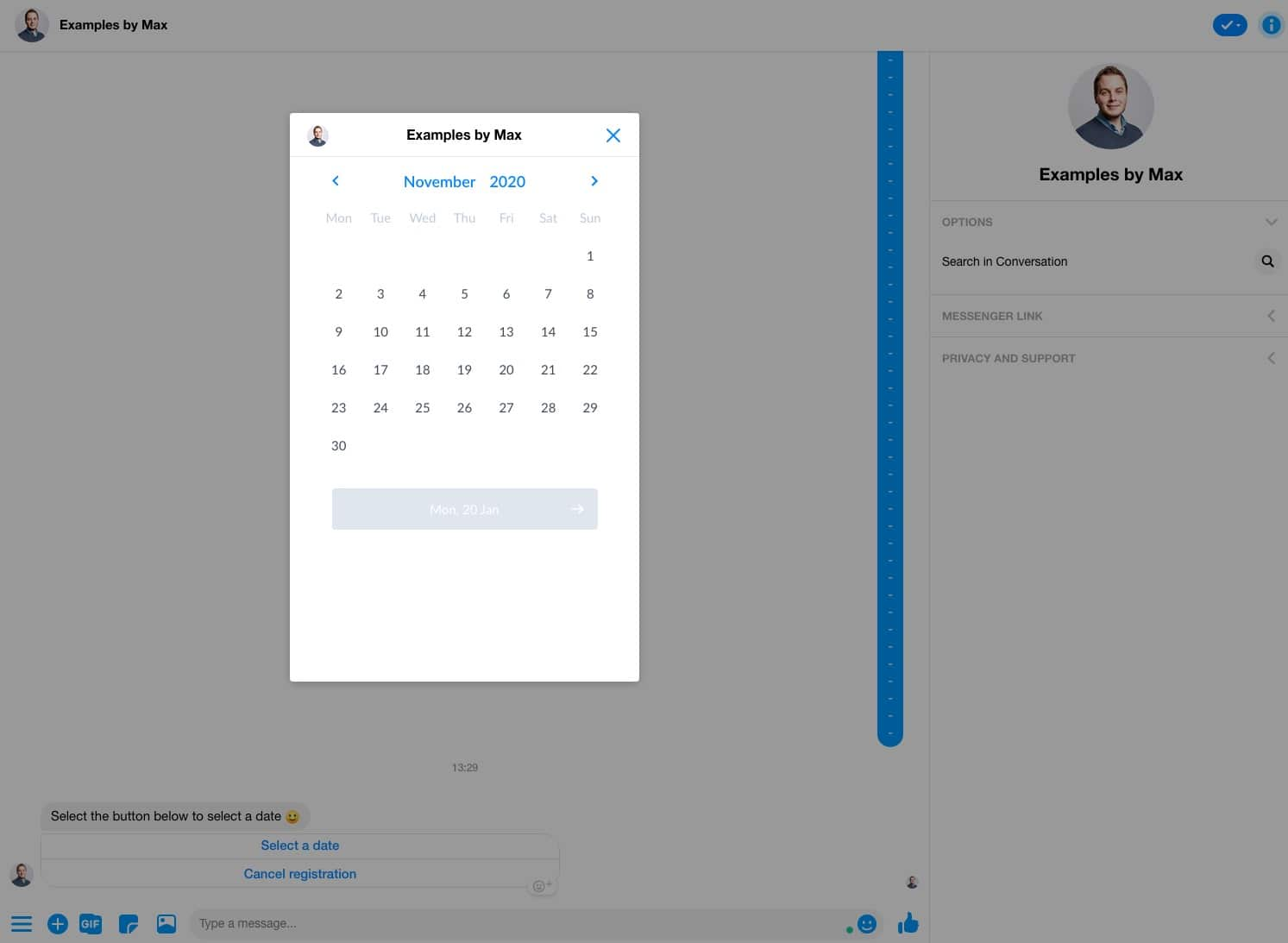 Example of a modal window in Messenger to select a date