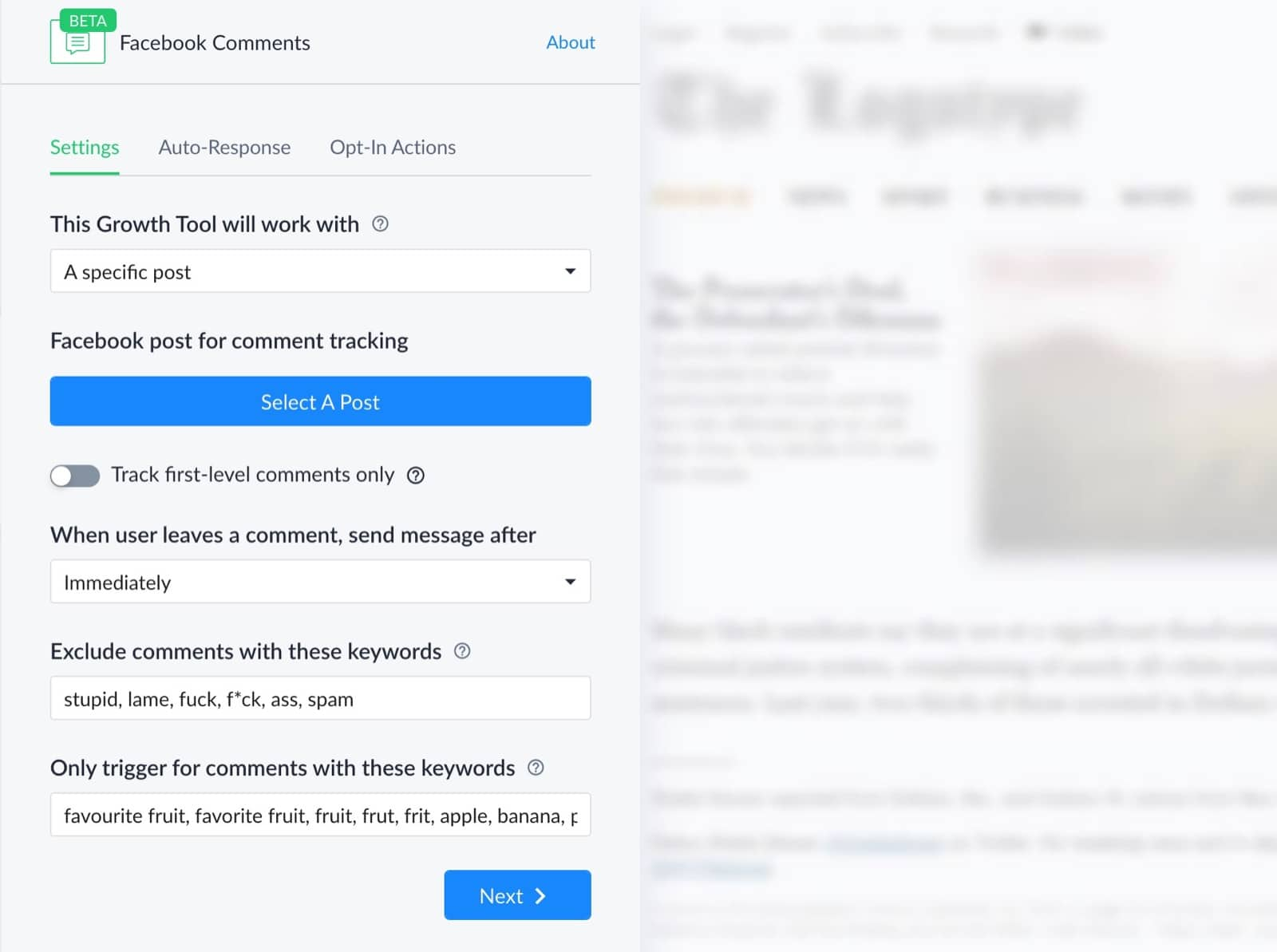 Settings comment growth tool