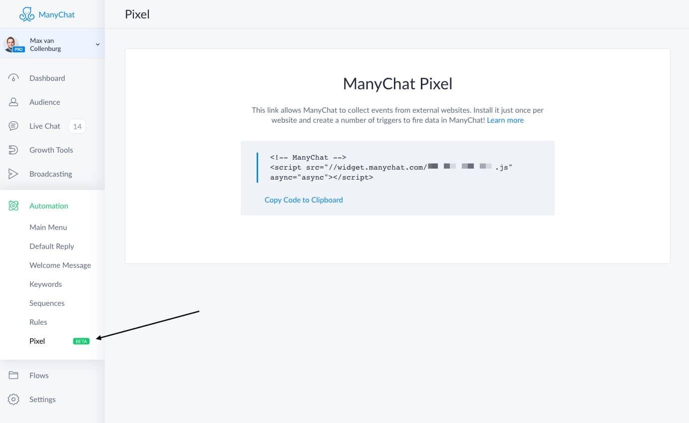 ManyChat Pixel Script