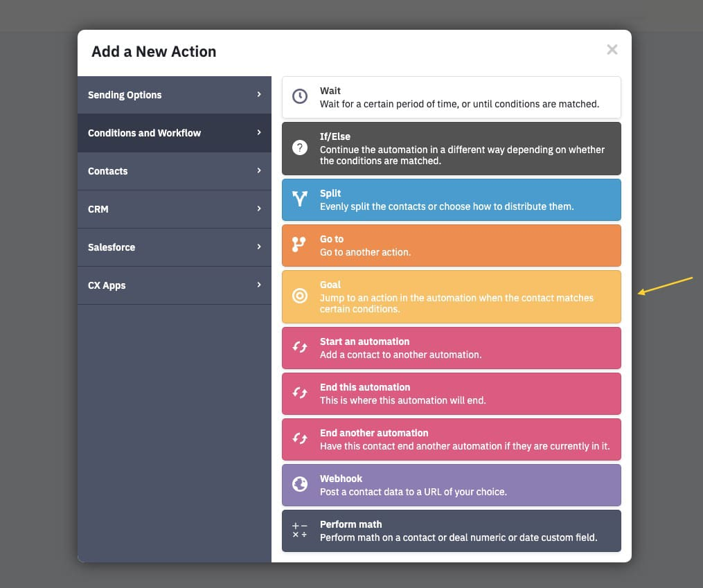 Add goal to automation