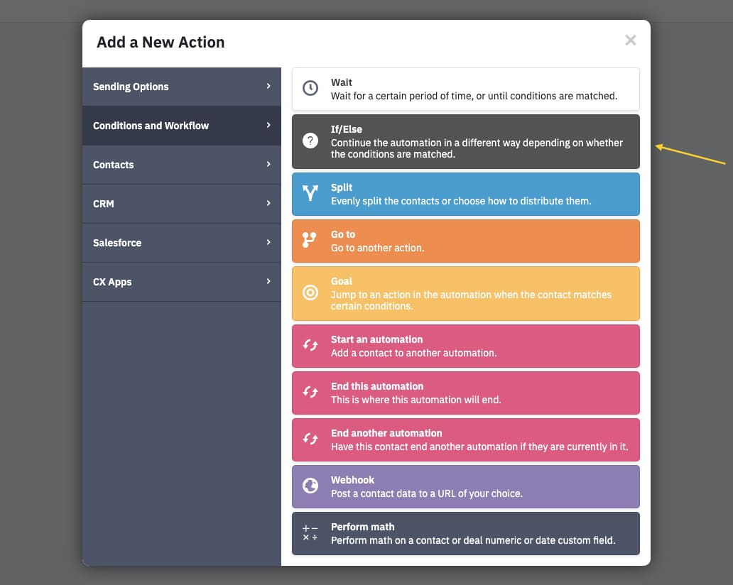 Add if/else to the automation in ActiveCampaign