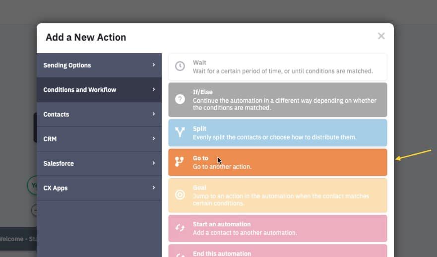 Add new go to action to automation in ActiveCampaign