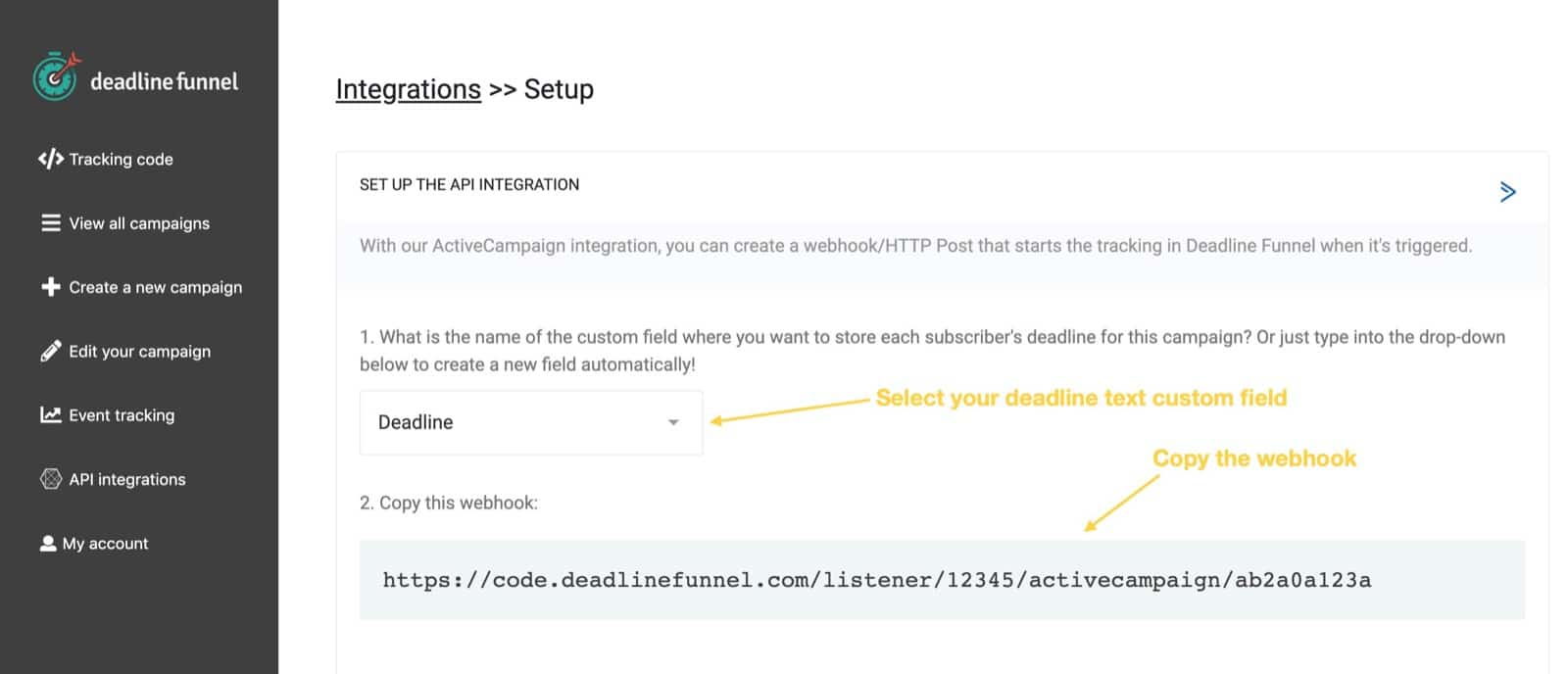 Select custom field and copy webhook