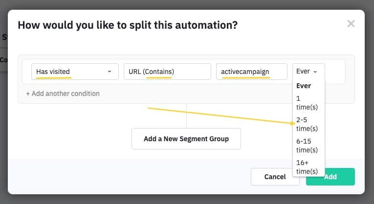 Split the automation based on how many times the contact visited a page that contains the word activecampaign