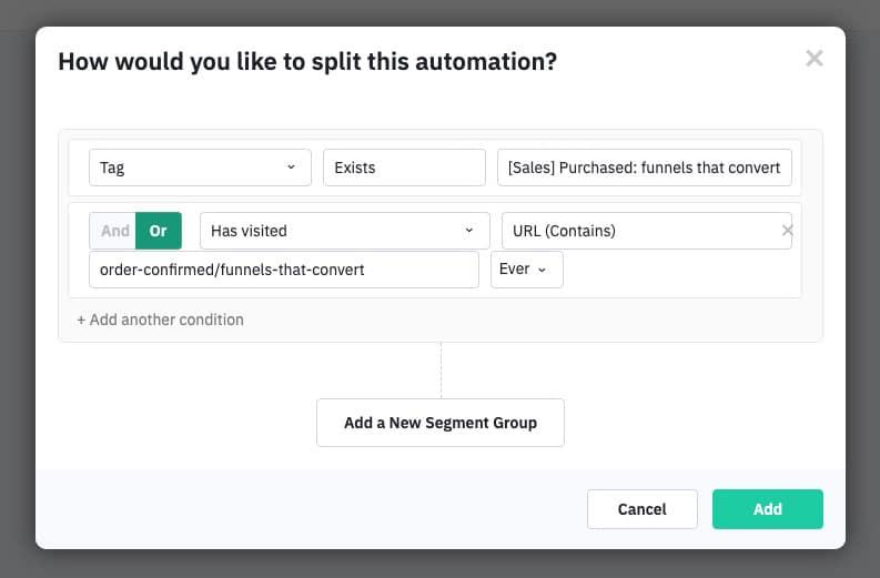 Split automation conditions