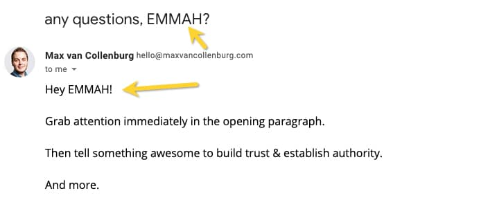 Example of an email with a capitalized first name